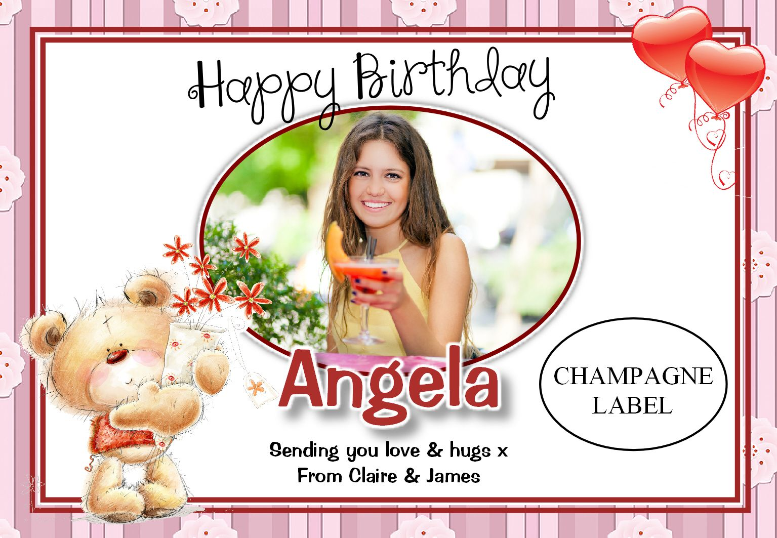 Personalised Teddy Bear Happy Birthday Wine Champagne Bottle PHOTO Label N44